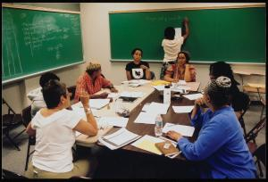 Cave Canem co-founder Toi Derricotte leads a workshop at the 1999 retreat.